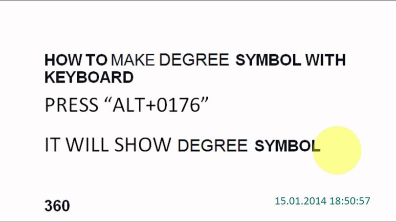 How To Make Degree Symbol On Keyboard