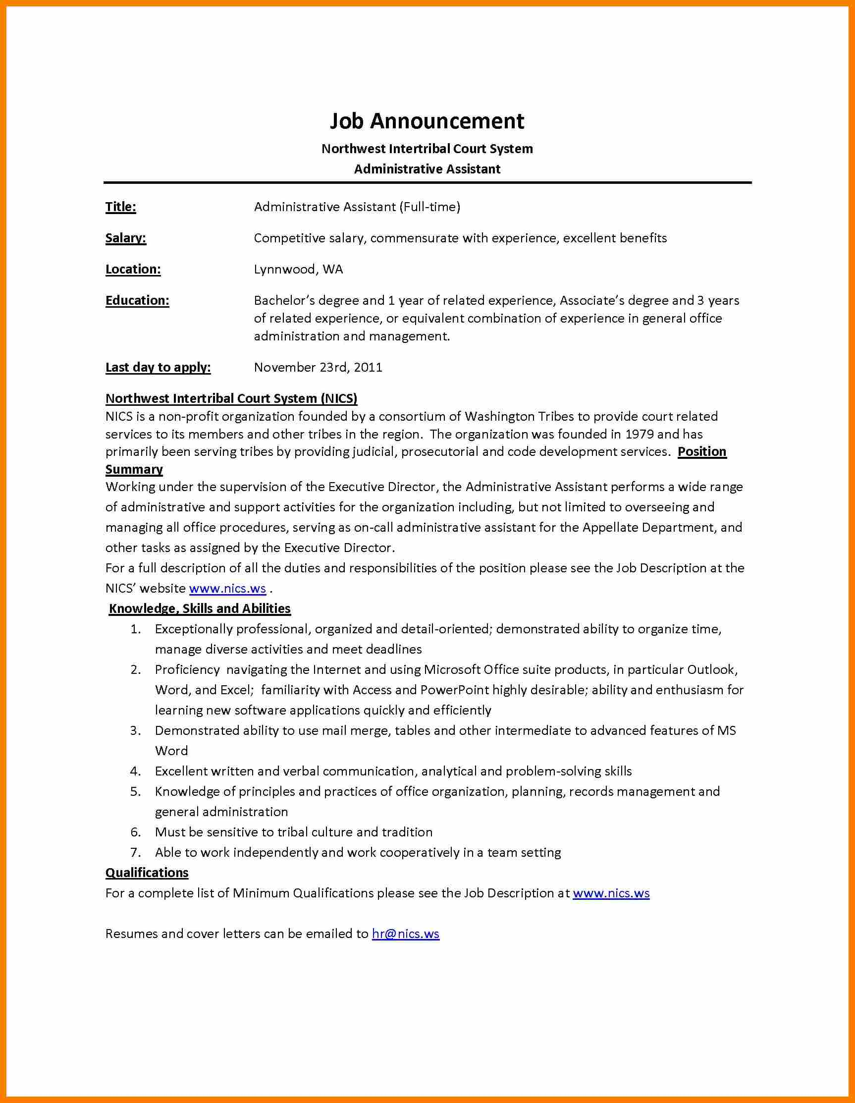 microsoft word job description template