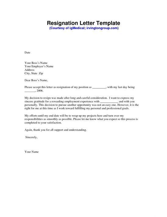 Professional Resignation Letter