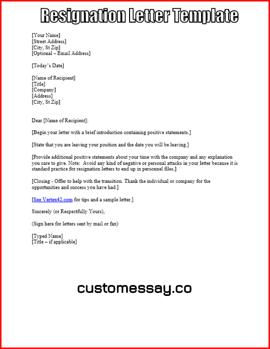 where can you find a resignation letter template