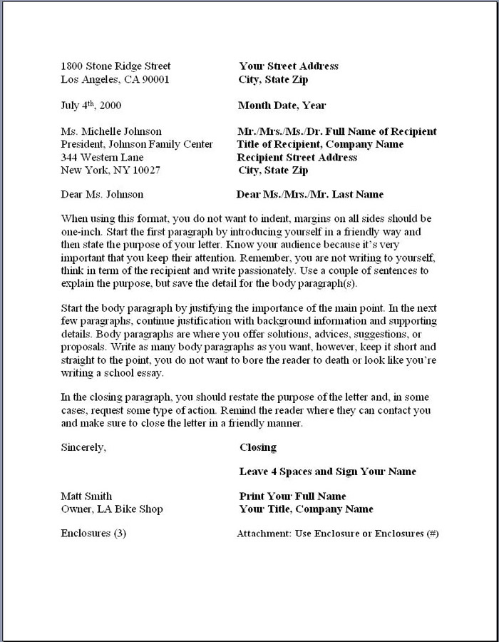 best business letter formats