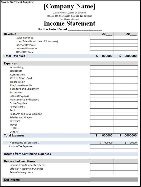 Awesome Obfuscata  Income Statement Template