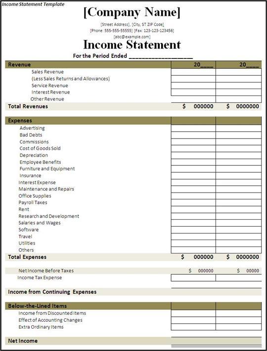 INCOME STATEMENT TEMPLATES  Income Statement Template