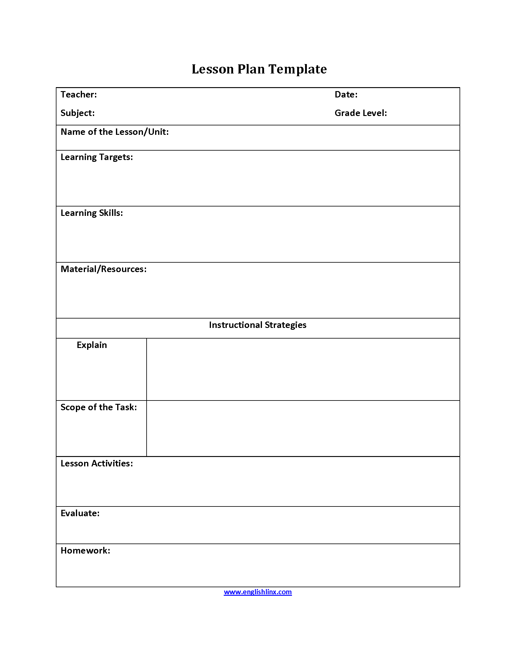 Lesson plan template for Outline of a lesson plan template