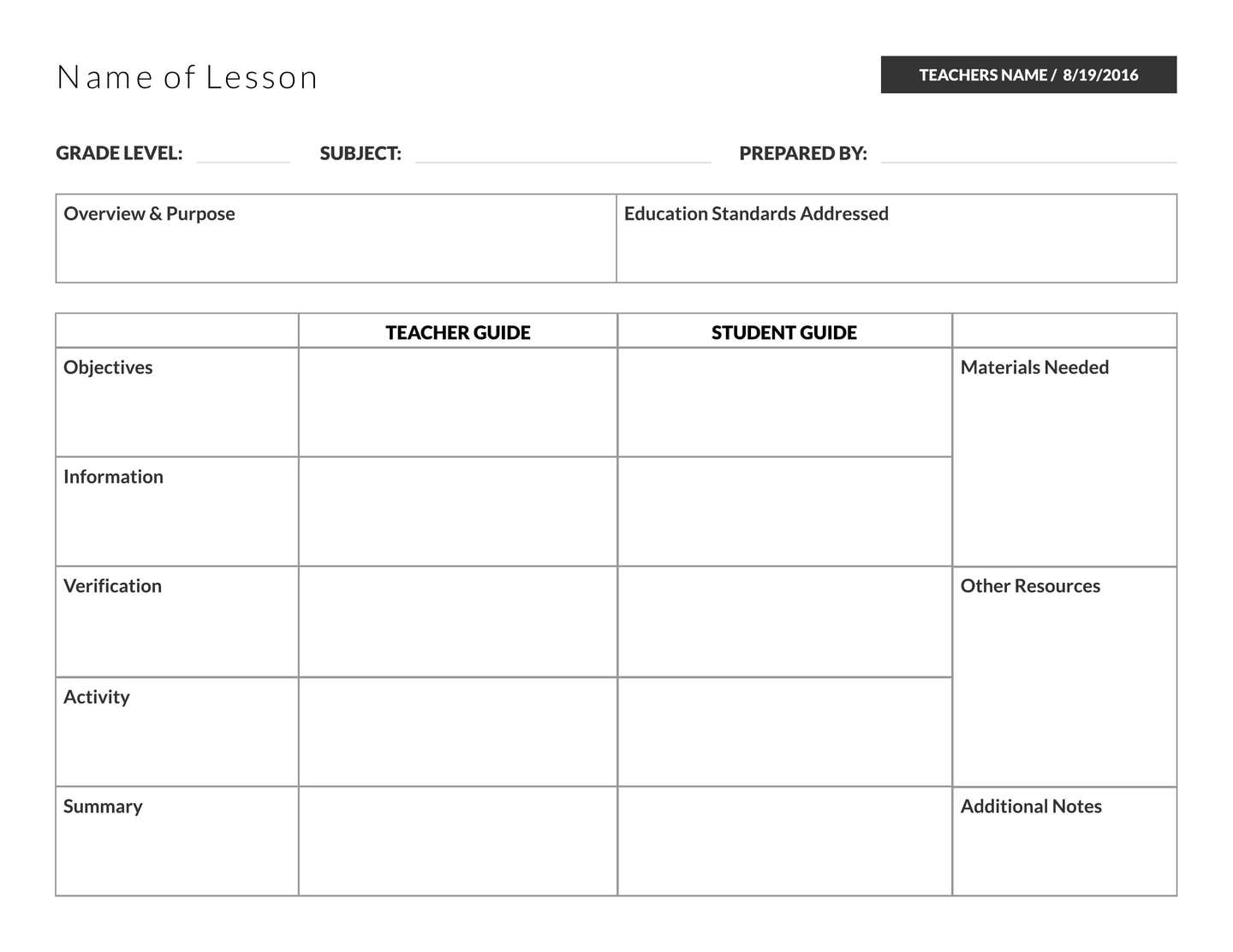 Best Primary Lesson Plan Template Ideas - Entry Level Resume ...