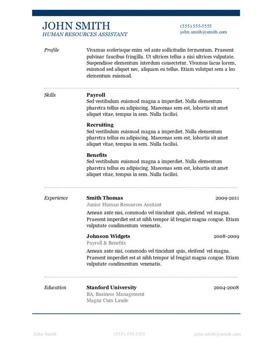 Resume Templates for Word