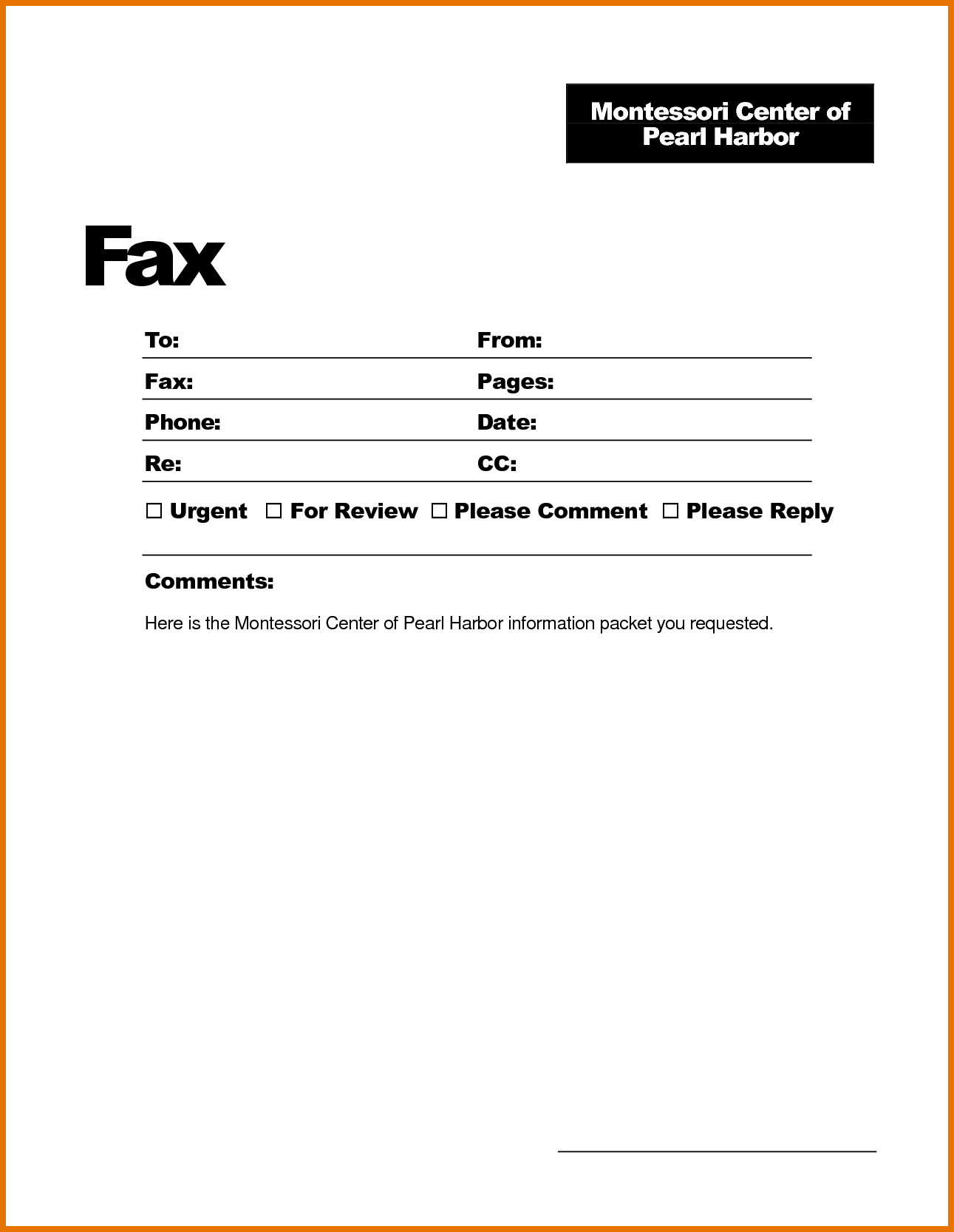 sample fax cover sheet