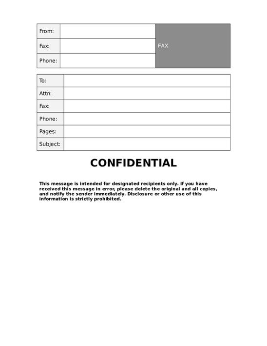 fax cover sheet for pages