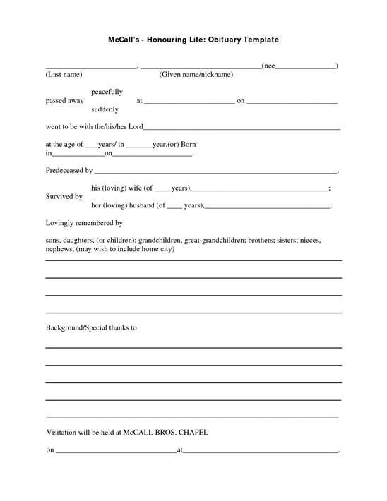 Where can you find an obituary template for Obituary outline template