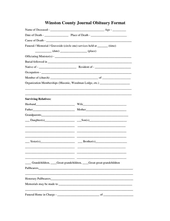obituary outline template - where can you find an obituary template