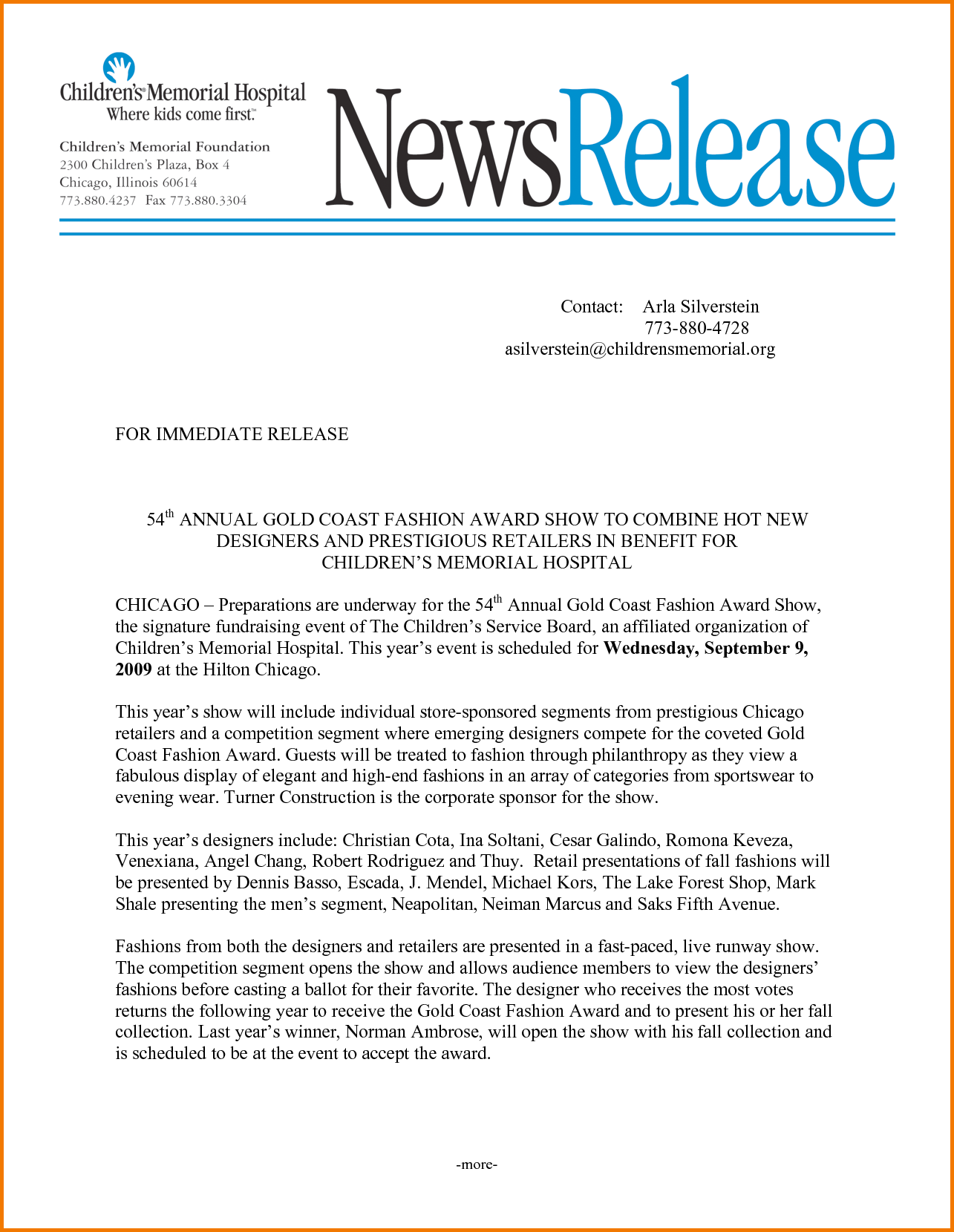 Press release template for Press release template for event