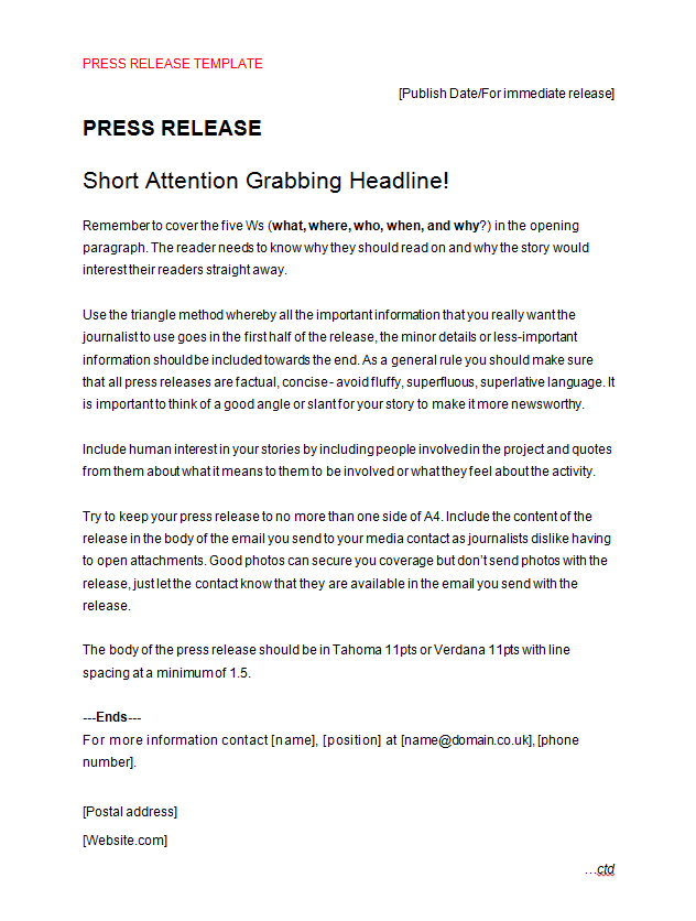 Press release template for Concert press release template