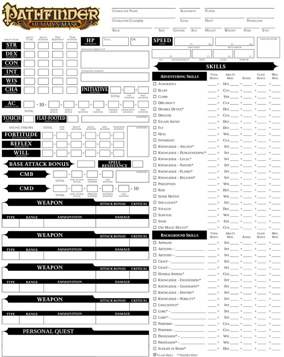Pathfinder Character SheetPathfinder Character Sheet