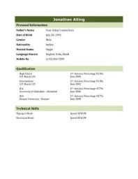 sample resume bio data