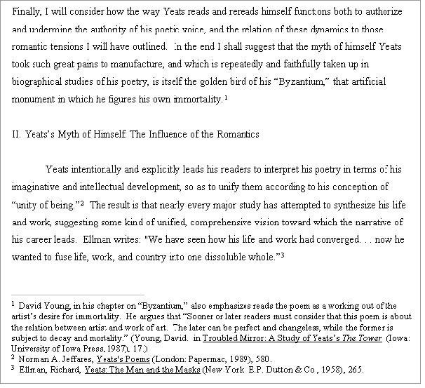 example of footnotes in an essay