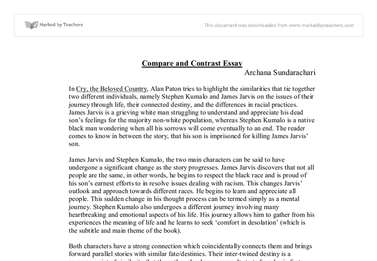 Introduction to a compare and contrast essay