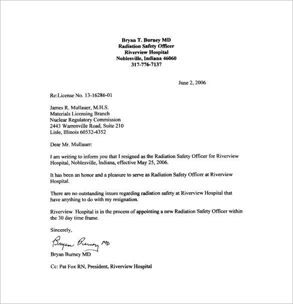resigning letter example