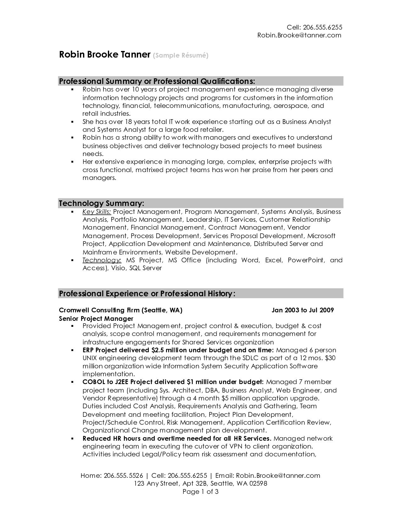 resume summary examples