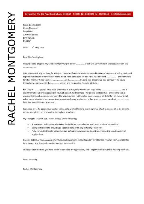 Sample Cover Letter for Applying a Job