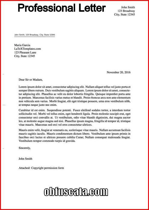 proffesional letter