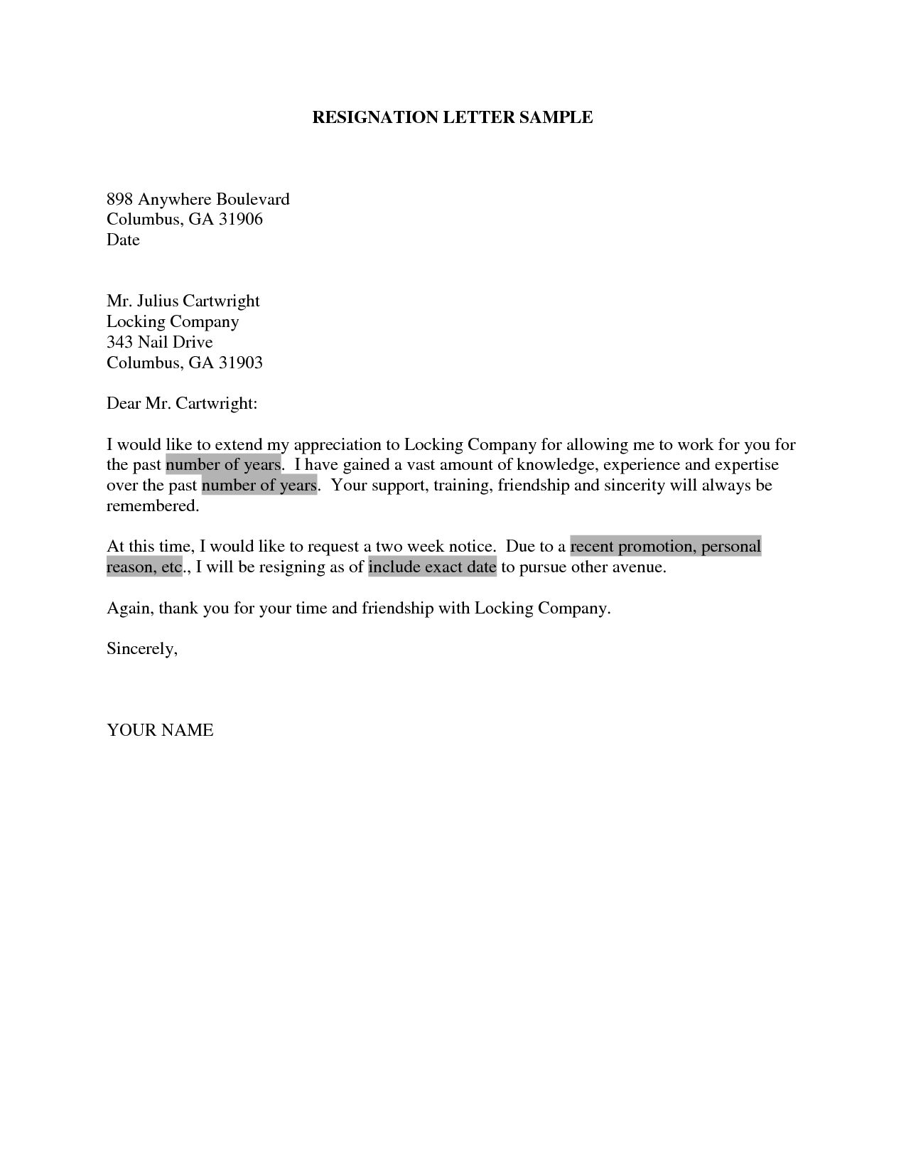 Resignation Letter After Two Weeks