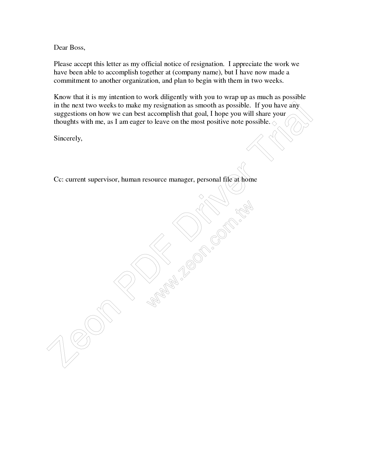 two weeks u2019 notice resignation letter samples
