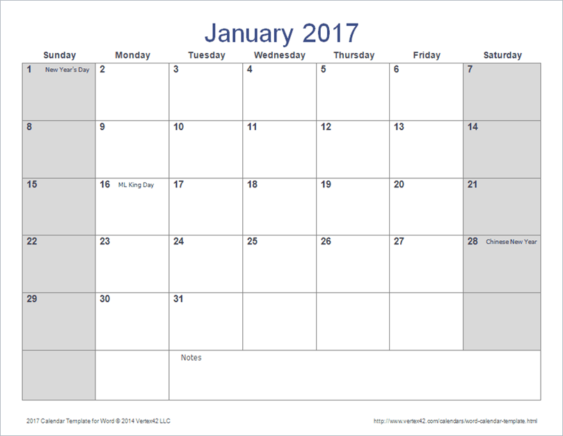 Points To Note In Calendar Templates