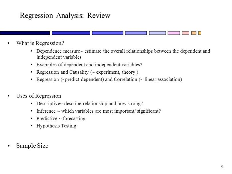 regression ananaysis This video introduced analysis and discusses how to determine if a given regression equation is a good explanation of regression analysis results.