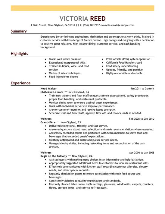 best resume format examples