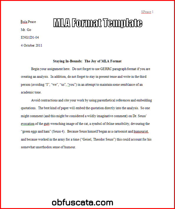 MLA Format Template